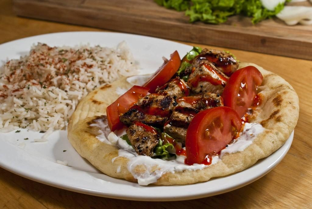 Souvlaki Pita and Greek Rice