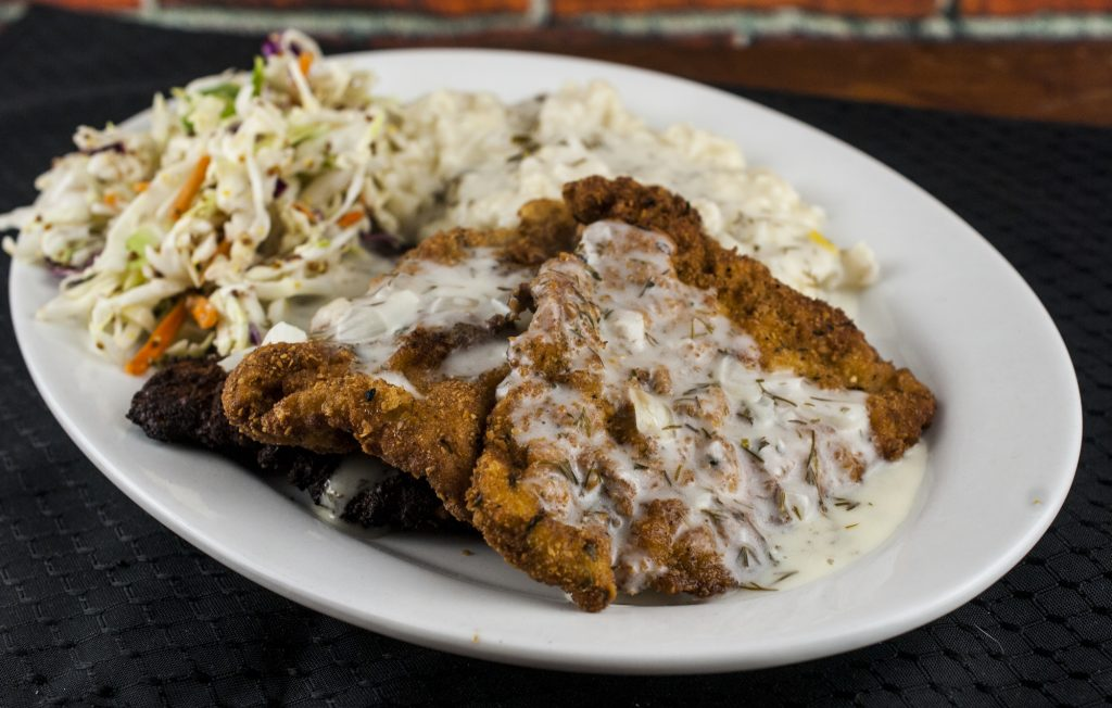 Schnitzel and Spaetzle with Dill Sauce and Coleslaw