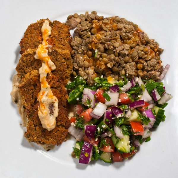 Baked Falafel With French Lentils and Slow Carb Tabbouleh