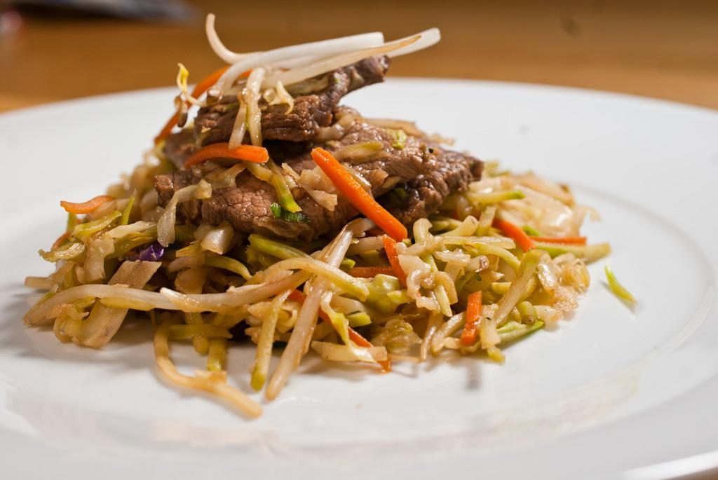 Beef and Coleslaw Stir-Fry with Bean Sprouts