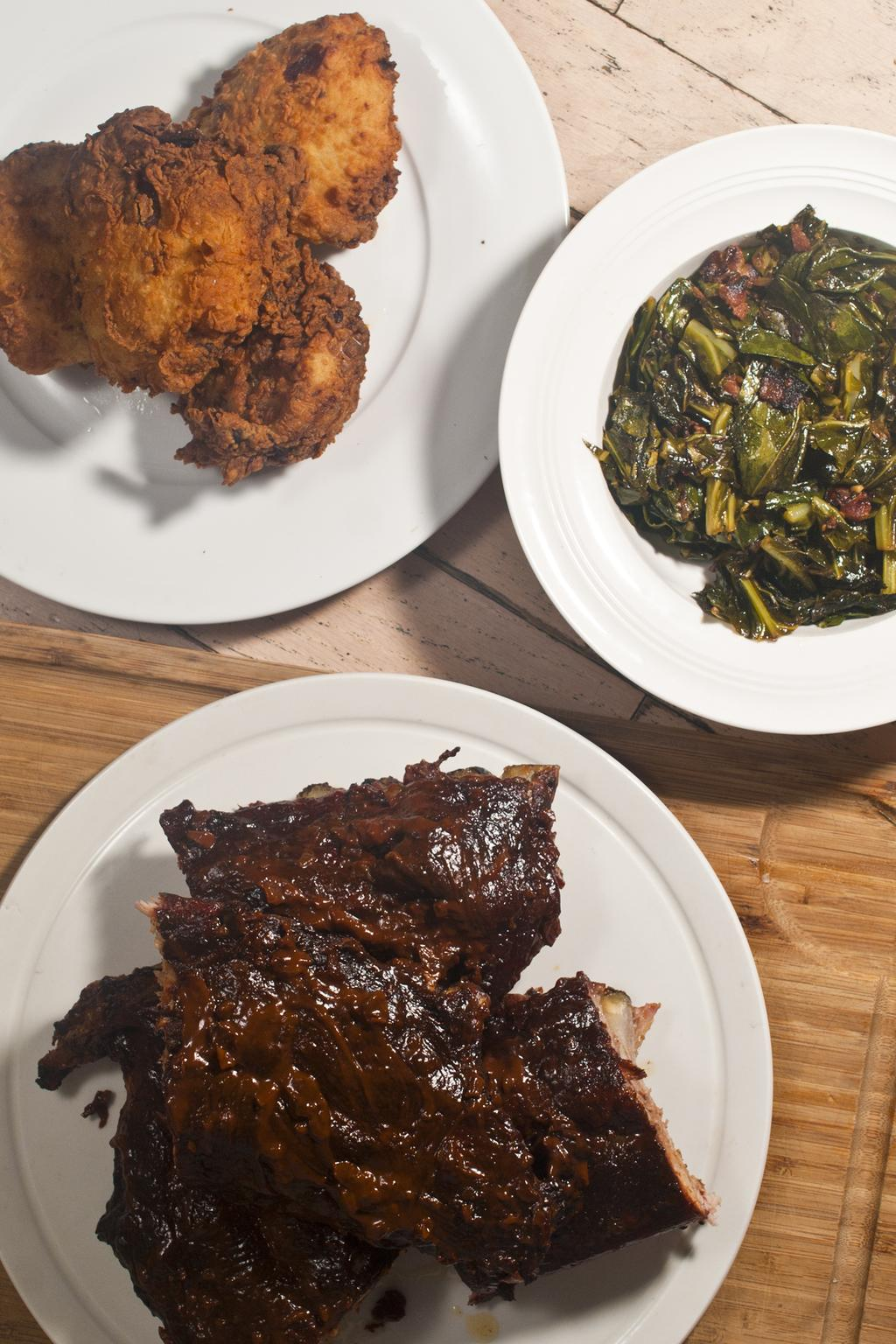 Chocolate Chipotle Ribs, Southern Fried Buttermilk Chicken and Collard Greens with Bacon