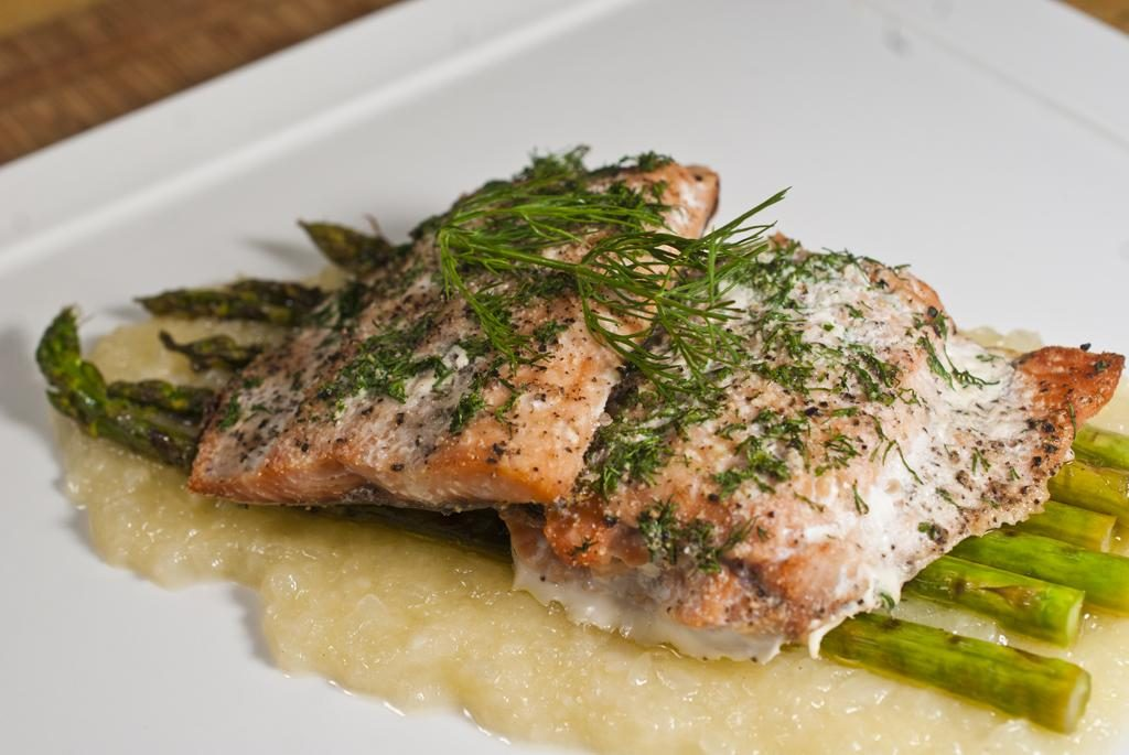 Dill Baked Salmon with Asparagus on Onion Soubise