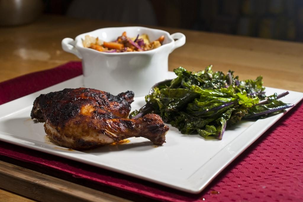 Jerked Chicken, Lentil and Mixed Bean Pilaf with Sauteed Kale