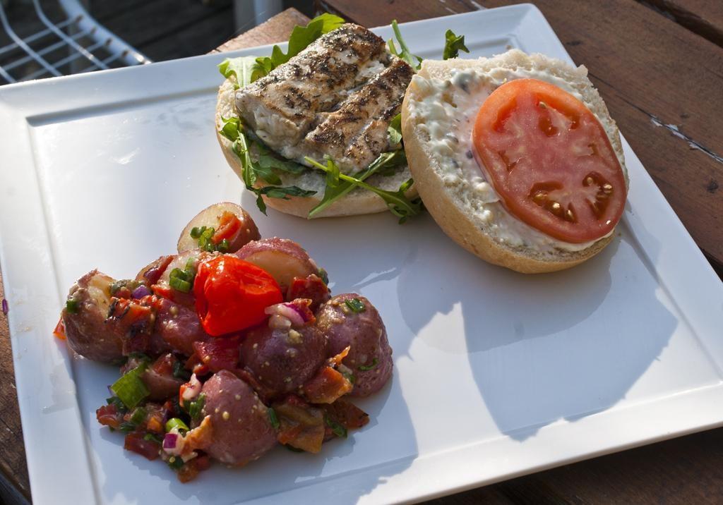 Mahi Mahi Burger with Zesty Potato Salad