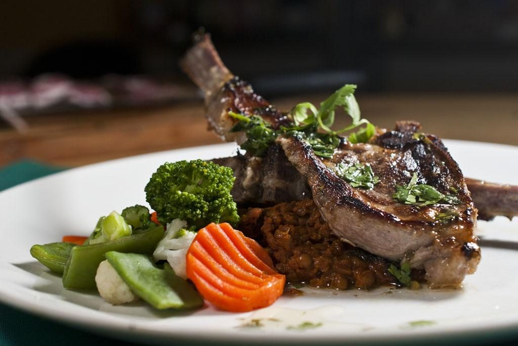 Minty Cilantro Rack of Lamb on Palak Daal