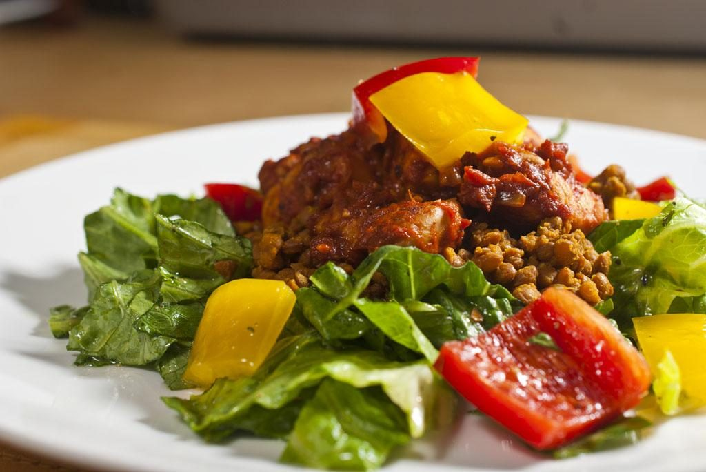 Paprika Chicken and Smokey Lentils on a Mixed Pepper Salad