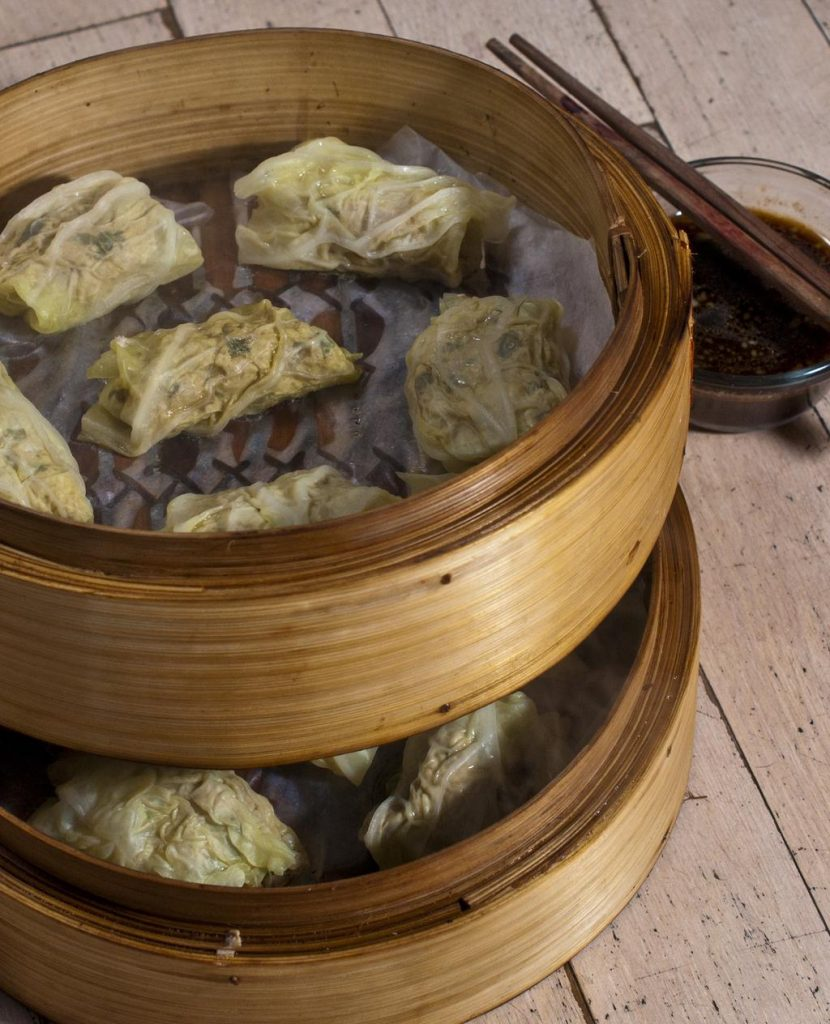Pork and Green Onion Cabbage Roll Dumplings
