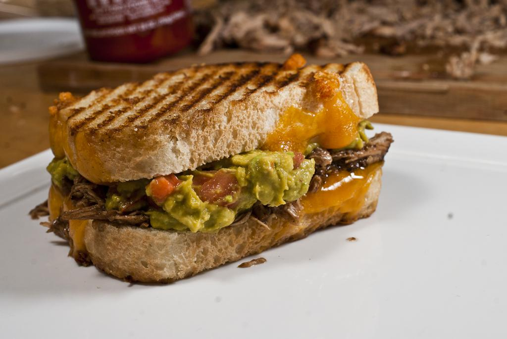 Pulled Pork Sriracha Guac Grilled Cheese Sandwich