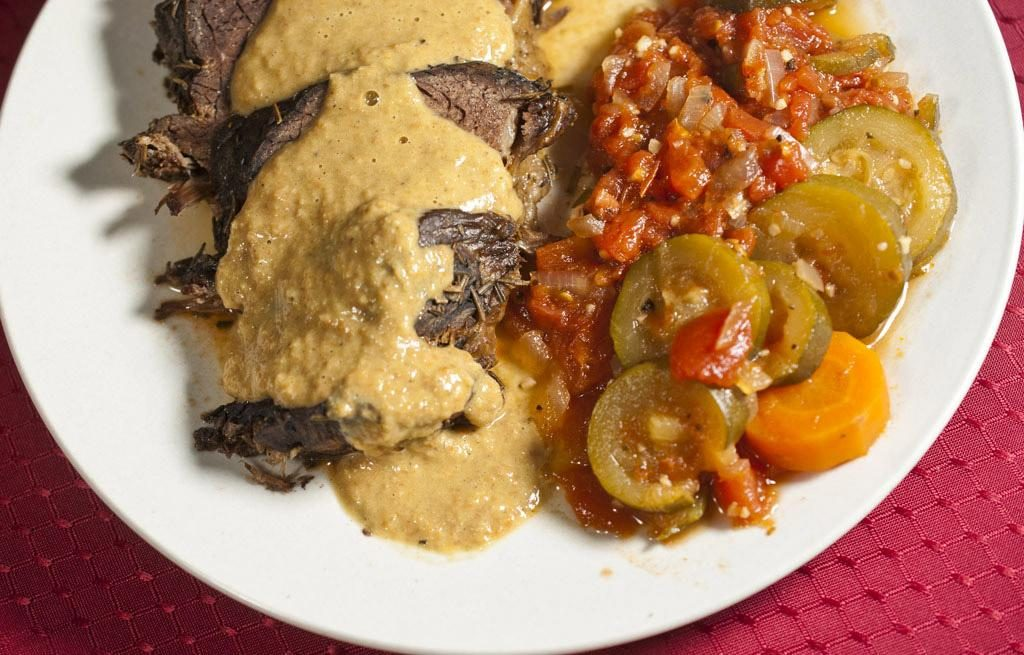 Slow Cooker Roast Beef, No Flour Gravy and Slow Cooker Vegetable Medley