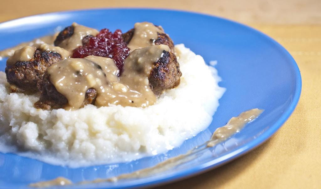 Swedish Meatballs on Mashed Turnips