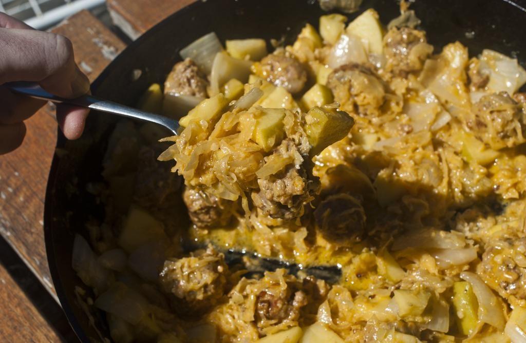 Cheesy Sausage And Sauerkraut Skillet