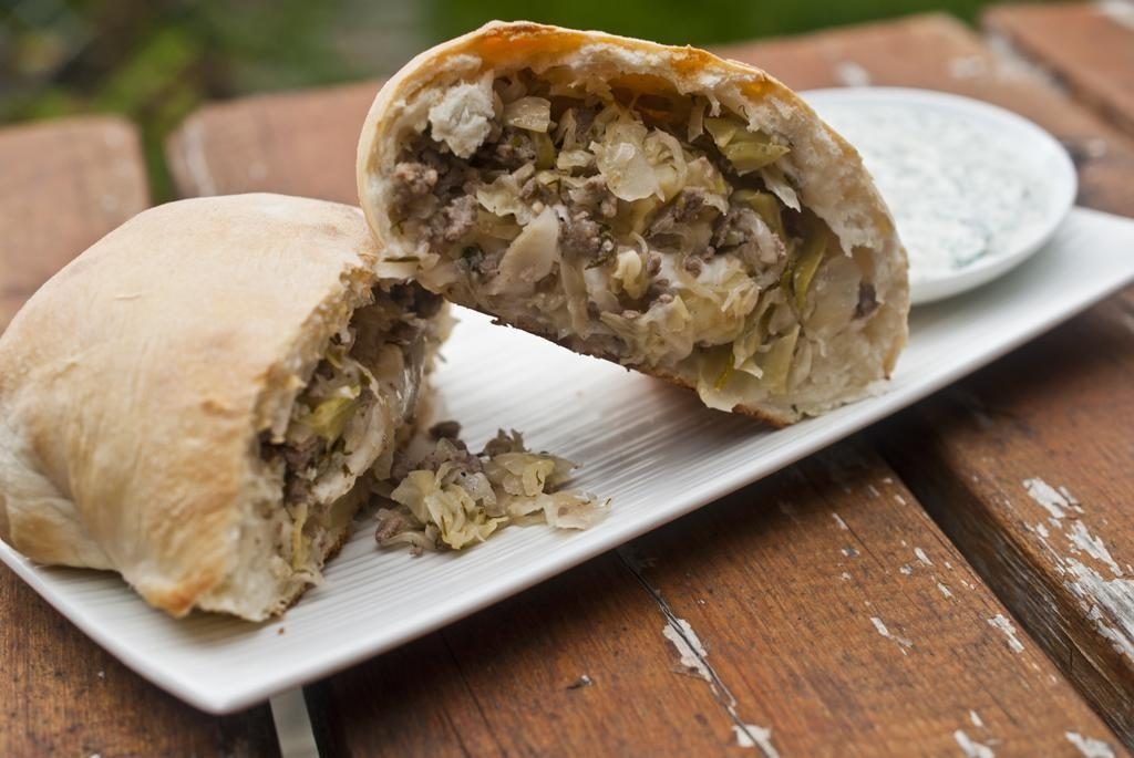 The Panzer: Panzerottis stuffed with beef, cabbage and sauerkraut, served with dill sour cream