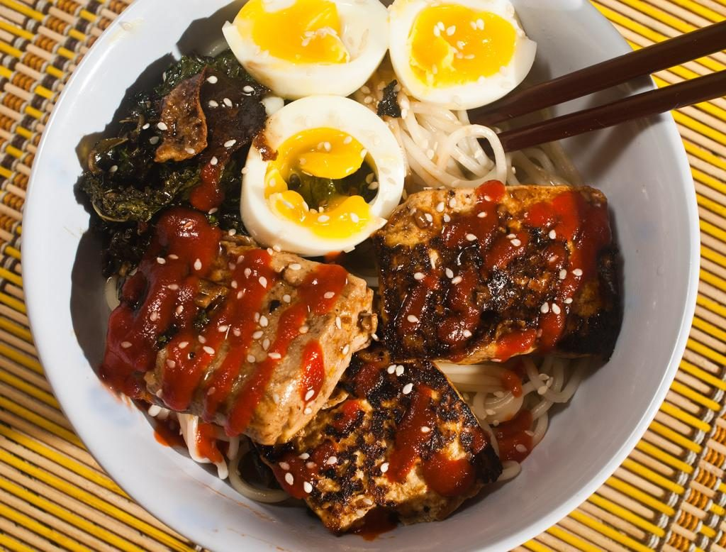 Spicy Tofu Ramen With Kale and Boiled Egg