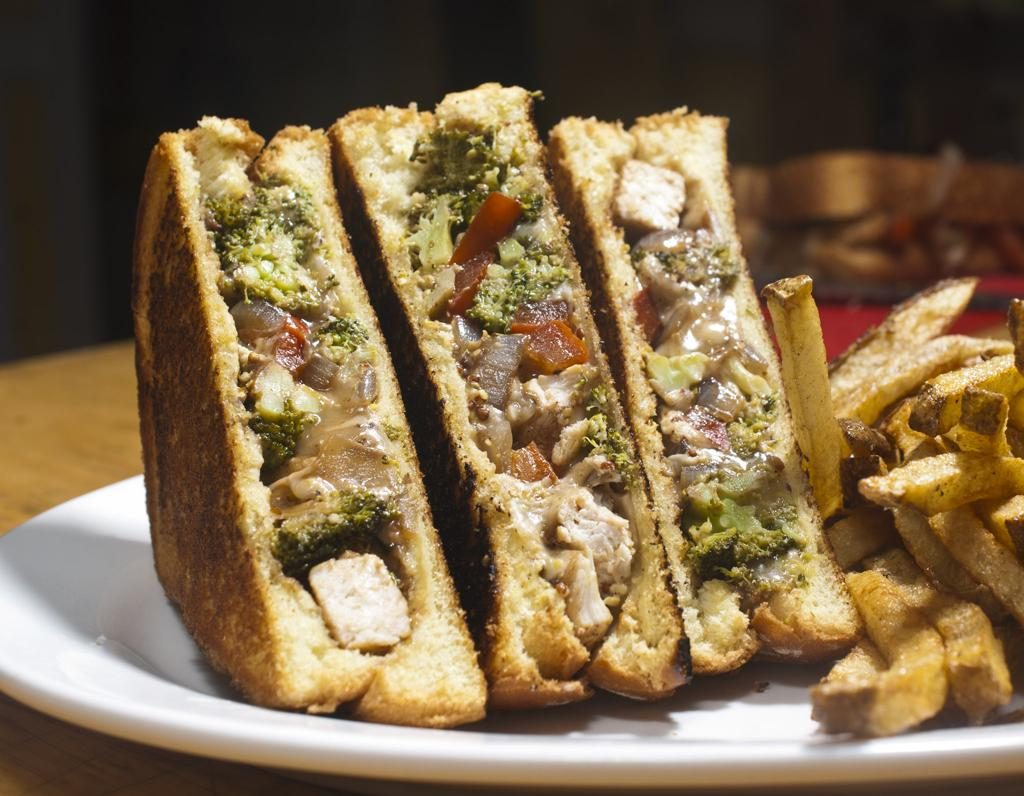 Cheesy Chicken and Sauteed Balsamic Vegetables Sandwich