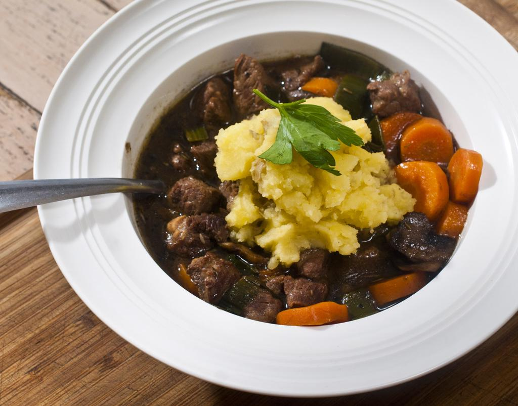 Irish Stew with Garlicky Mashed Potatoes