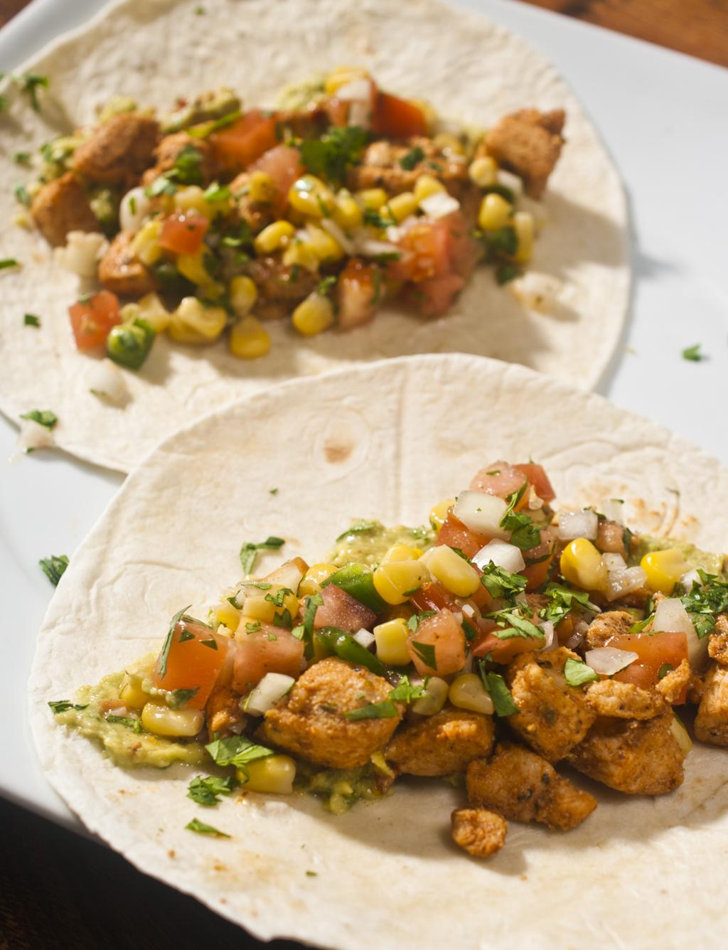 Smoky Chicken Tortillas With corn salsa and sun dried tomato guacamole