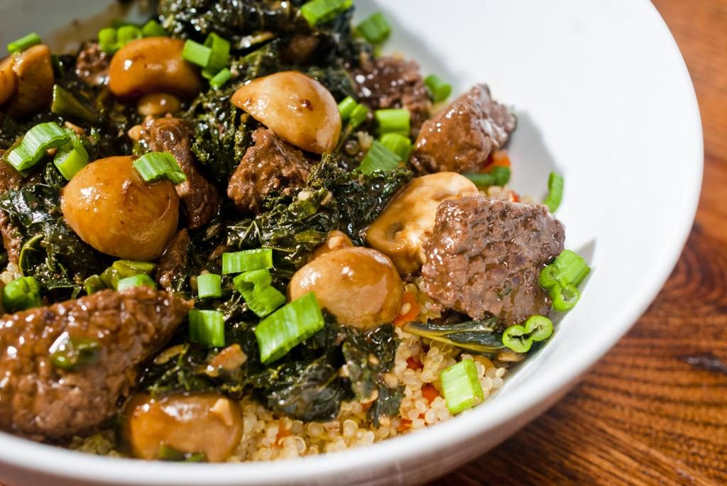 Ginger Beef with Button Mushrooms and Kale on Quinoa