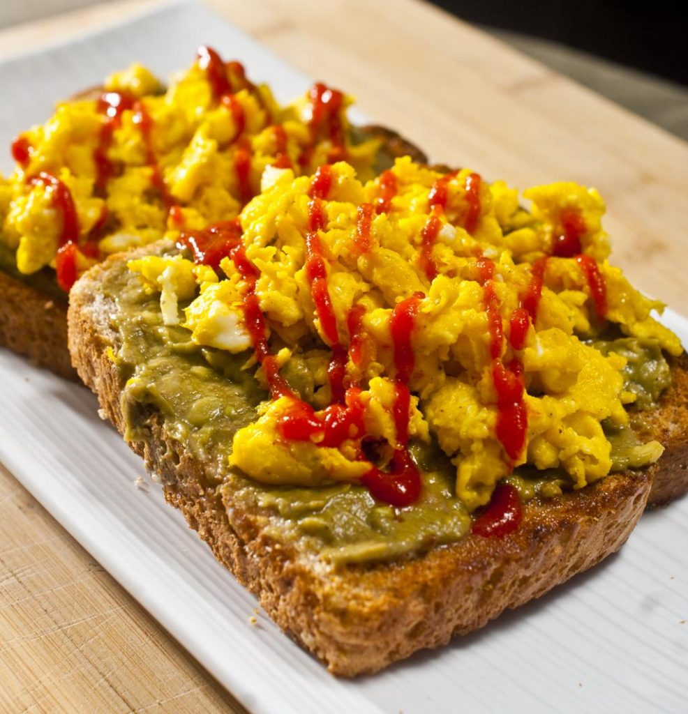 Scrambled Eggs and Guac on Toast