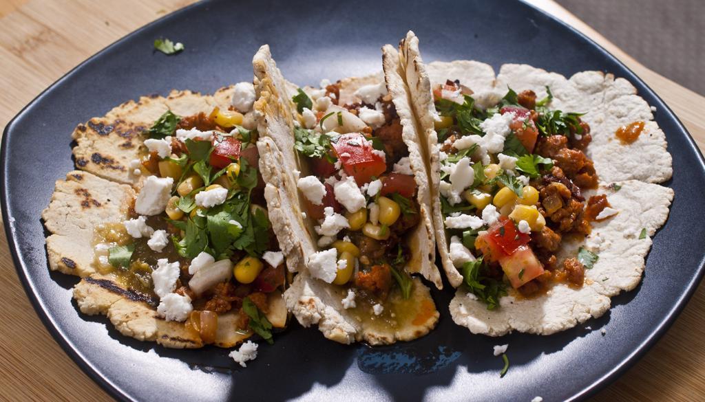 Chorizo Tacos on Homemade corn tortillas