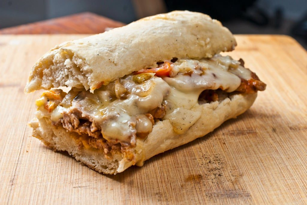 Shaved BBQ pork sirloin sandwich with smoked Gouda and garlic aioli