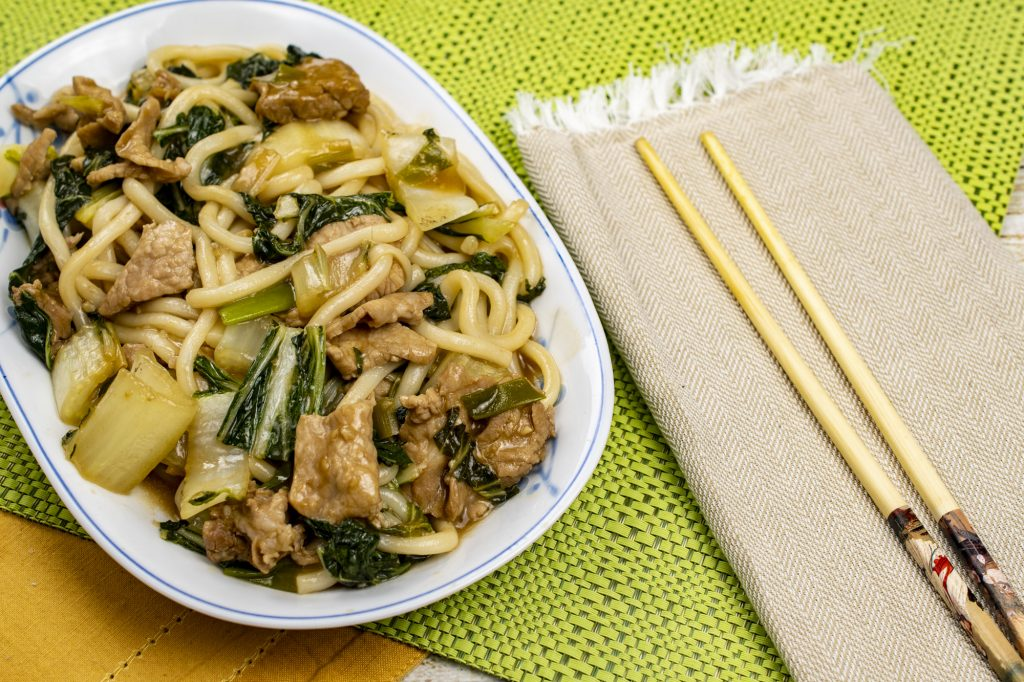 Udon Noodles with pork, bok choy and green onion