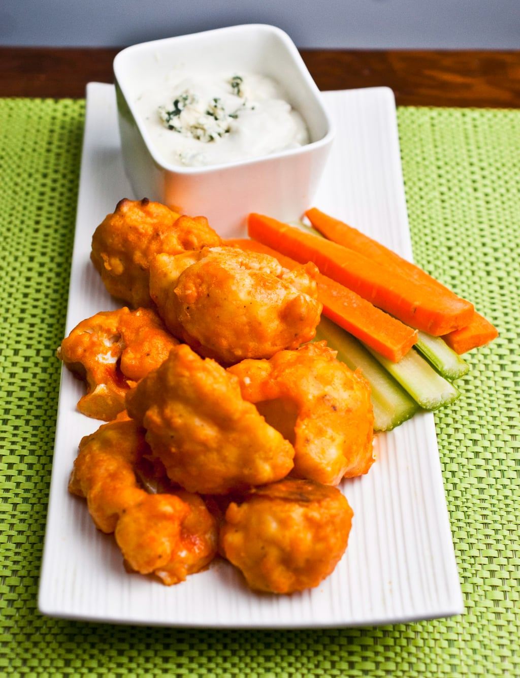 Buffalo Cauliflower Bites with Blue Cheese Dipping Sauce
