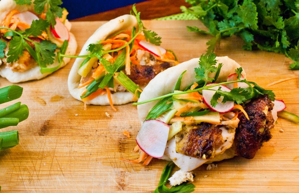 Oven Roasted Chinese Five Spice Chicken with Banh Mi Style Slaw on Steamed Buns