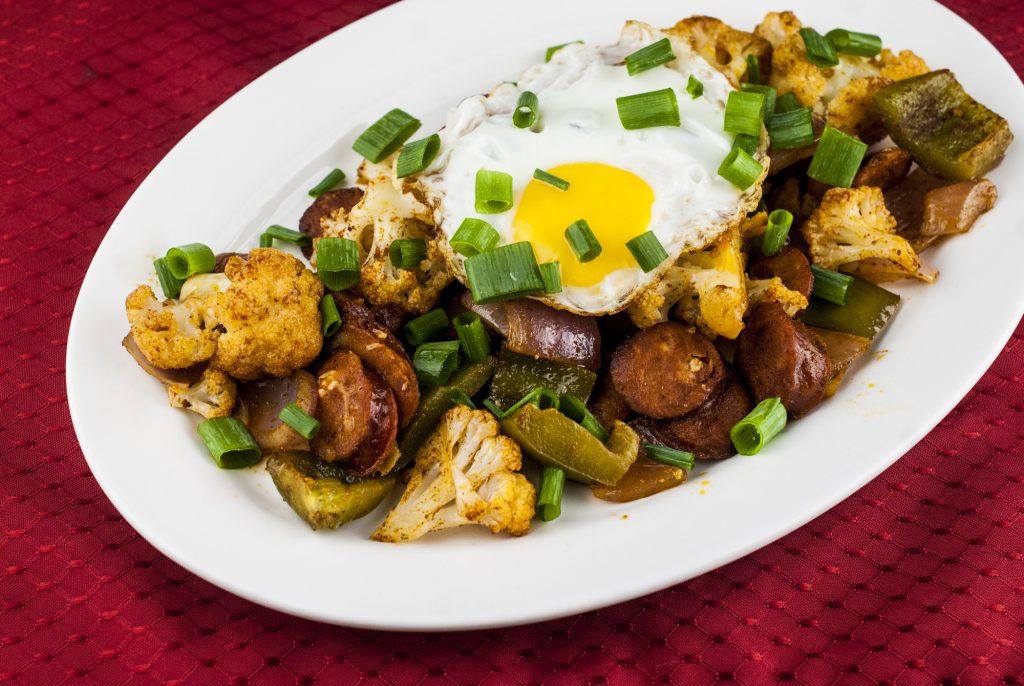 Roasted Cauliflower and Chorizo Breakfast Hash