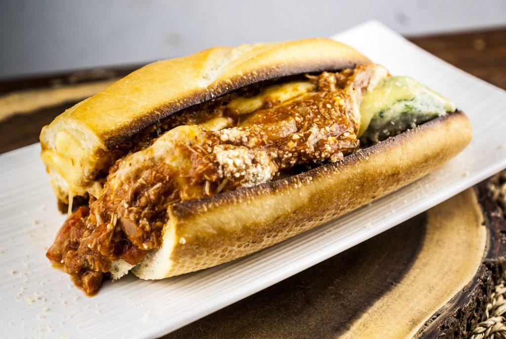 Ricotta Spinach Dumpling and Chicken Cacciatore Sandwich