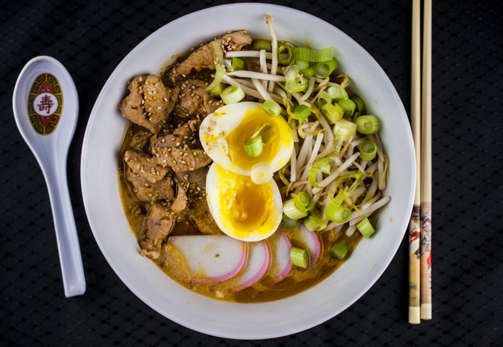 Spicy Miso Broth Ramen with Hot and Sour Pork