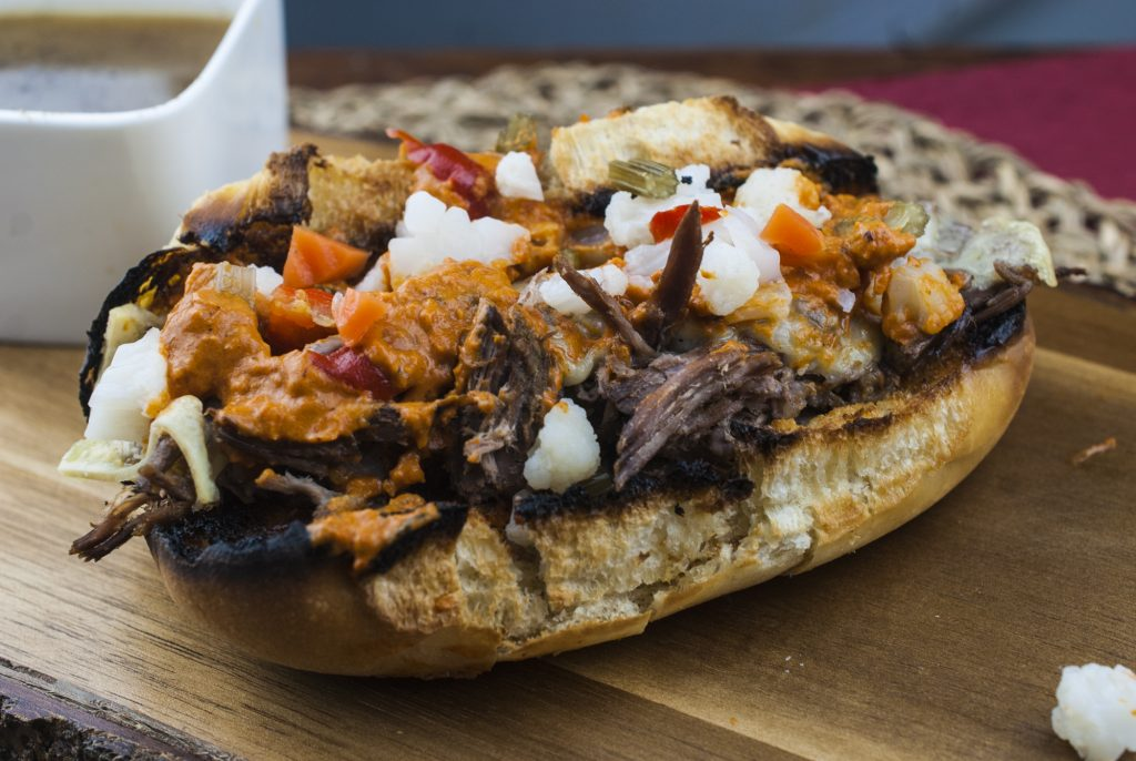 Beef Dip Sandwich With Gardeniera, Gruyere and Roasted Red Pepper aoili