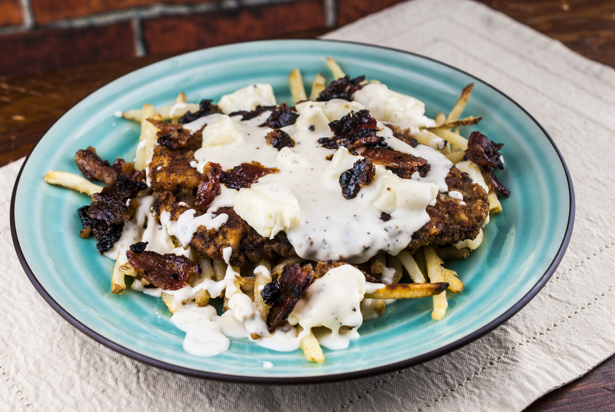 Chicken Fried Steak With Cheese Curds and Maple Candied Bacon