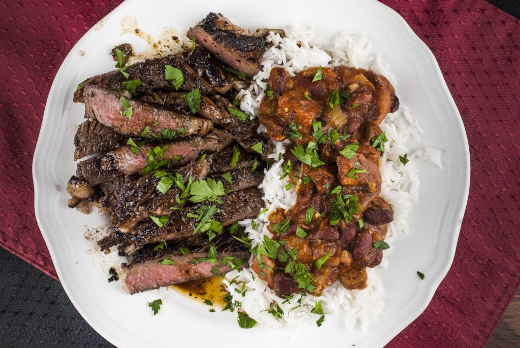 Cajun Bourbon Rib-Eye with Red Beans and Rice