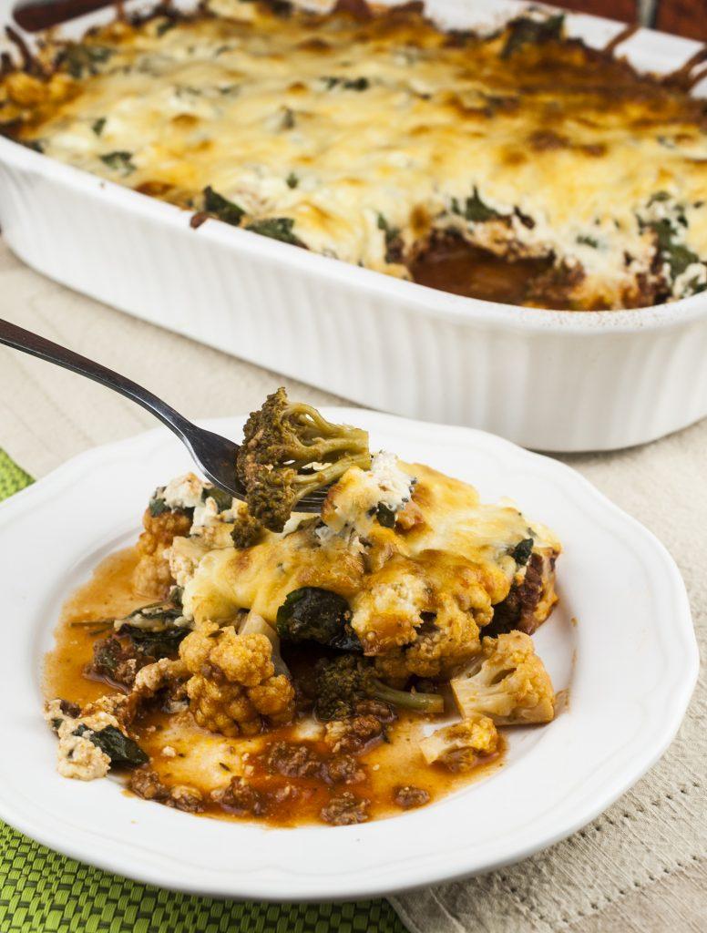 Cheesy, Meaty, Broccoli, Cauliflower, Spinach Casserole