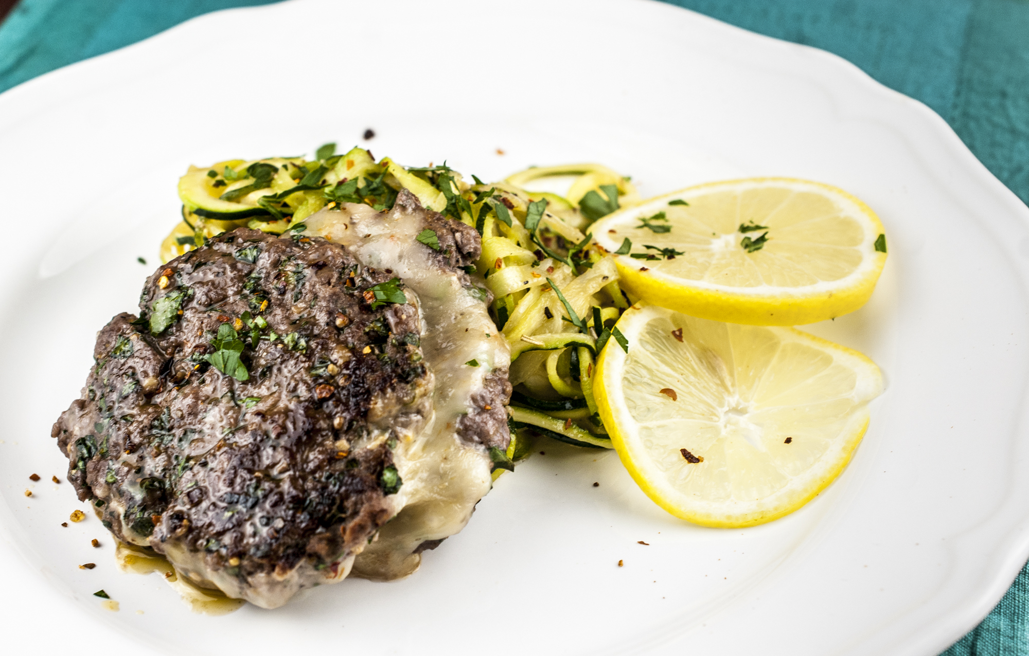 Havarti Stuff Burgers with Lemon and Garlic Zucchini Noodles