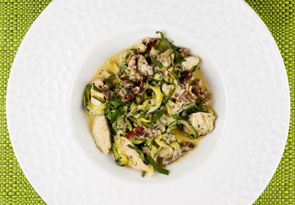 Creamy Tuscan Chicken with Sun Dried Tomatoes and Zucchini Noodles