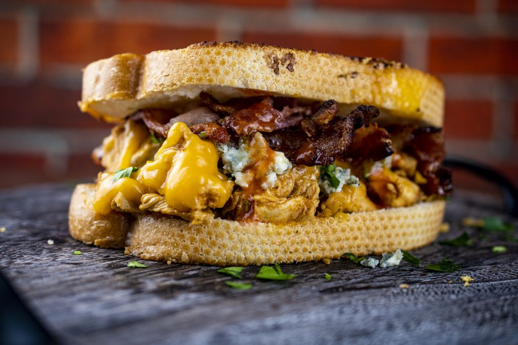 Buffalo Chicken and Bacon Grilled Cheese Sandwich