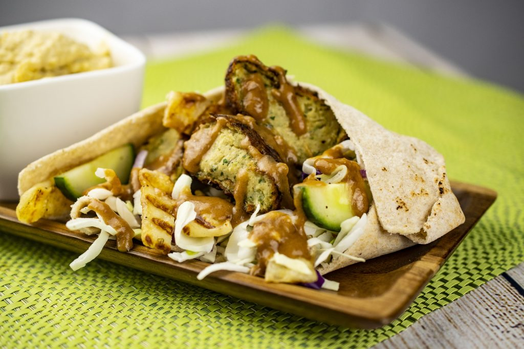 Falafel With Grilled Halloumi and Peanut Sauce