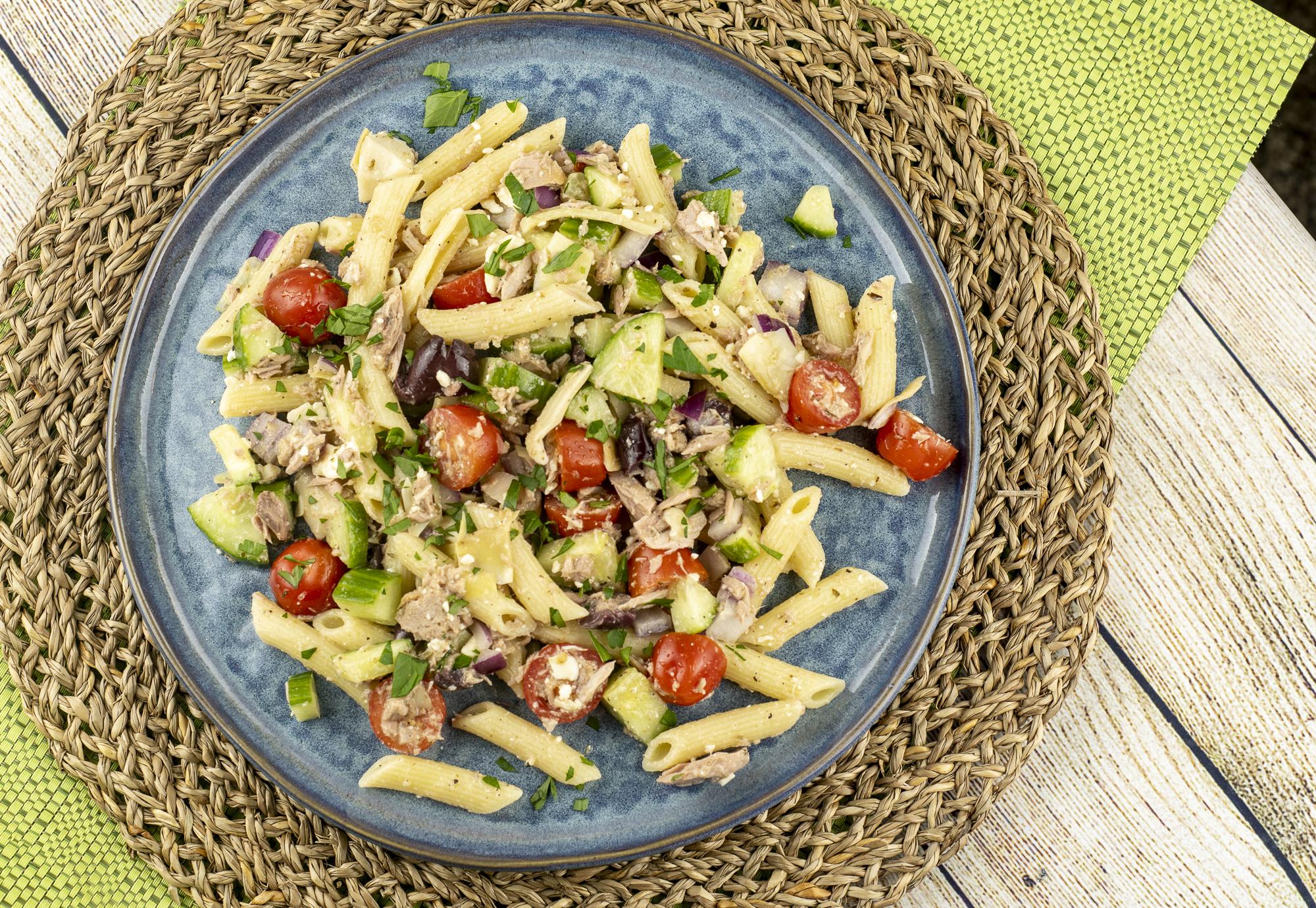 Greek Tuna Pasta Salad
