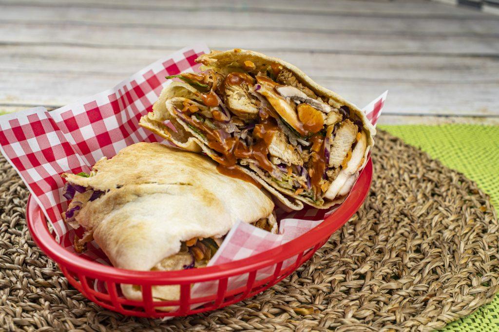 Easy Spicy Chicken Caesar Wrap Pitas